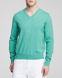 Brooks Brothers Solid V Neck Sweater Light Green