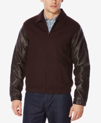 Perry Ellis Men's Mixed Media Bomber Jacket Port
