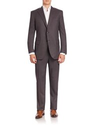 Corneliani Solid Wool Suit Dark Grey