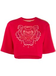 Kenzo Tiger Cropped T Shirt Red