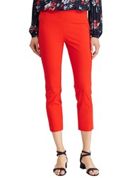 Ralph Lauren Keslina Stretch Twill Skinny Crop Trousers Tomato Red