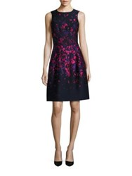 Oscar De La Renta Cloque Floral Print A Line Dress Navy Hot Pink