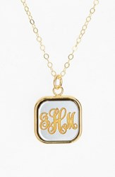 Women's Moon And Lola 'Vineyard' Personalized Monogram Pendant Necklace Gunmetal