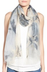 Women's Badgley Mischka Floral Print Modal And Silk Scarf Beige Natural