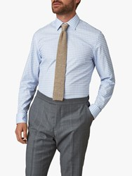 Jaeger Gingham Check Slim Fit Shirt Light Blue