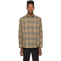 Burberry Beige Check Flannel Chambers Shirt