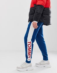 Tommy Jeans Cuffed Jogger Wth Colour Block Side Panel In Blue