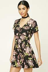 Forever 21 Floral Fit And Flare Dress Black Coral