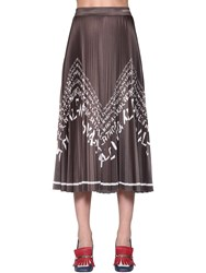 Valentino Logo Printed Pleated Jersey Skirt Brown