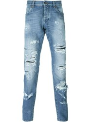 Dolce And Gabbana Ripped Jeans Blue