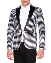 Dsquared Satin Lapel Houndstooth Evening Jacket Black White