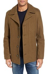 Schott Nyc Men's Slim Fit Wool Military Jacket Olive