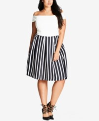 City Chic Trendy Plus Size Striped Pleated Skirt Black