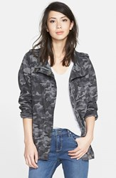 Women's Press Lightweight Stretch Cotton Military Jacket Charcoal Camo