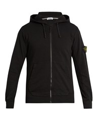 Stone Island Logo Patch Cotton Jersey Hooded Sweatshirt Black