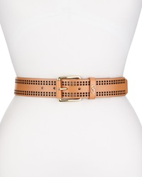 Cole Haan Perforated Leather Belt Natural