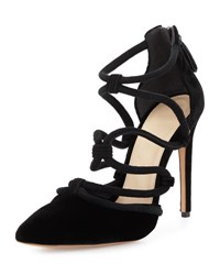 Alexandre Birman Knotted Suede Cage Pump Black