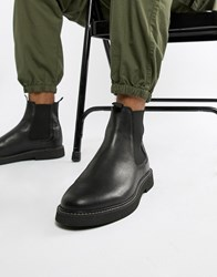 Asos Design Chelsea Boots In Black Leather With Chunky Sole