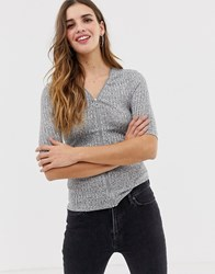 Qed London Zip Front Detail Top Grey