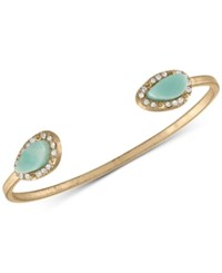 Rachel Roy Gold Tone Pave And Colored Stone Cuff Bracelet Blue