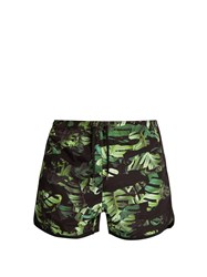 Neil Barrett Camouflage Palm Leaf Print Swim Shorts Green
