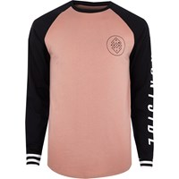 River Island Mens Pink Graphic Print Raglan Long Sleeve T Shirt
