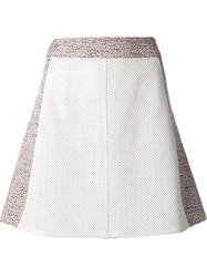 Tess Giberson Perforated Leather And Jacquard Skirt White