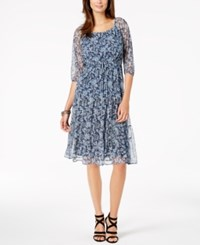 Ny Collection Petite Printed Fit And Flare Dress Blue Marpais