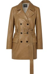 Theory Belted Double Breasted Leather Coat Tan