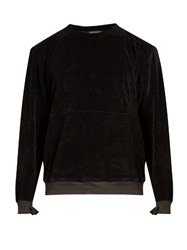 Longjourney Nash Crew Neck Aged Cotton Velvet Sweatshirt Black