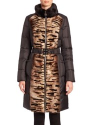 The Fur Salon Mink And Quilted Puffer Coat Black Animal Print