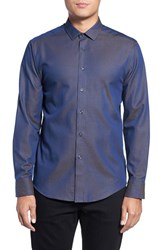 Vince Camuto Men's Trim Fit Print Sport Shirt Navy Gold Pindot Dobby