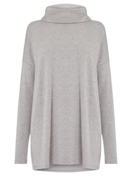 Warehouse Relaxed Side Split Polo Tunic Light Grey
