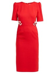 Goat Hush Floral Embellished Wool Crepe Midi Dress Red