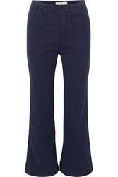 The Great Army Mariner Stretch Lyocell And Cotton Blend Flared Pants Navy