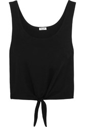 Splendid Tie Front Cotton Jersey Top Black