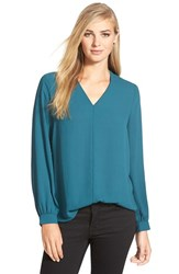 Women's Pleione High Low V Neck Blouse Teal Deep