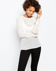 Brave Soul Long Sleeve Blouse With Embroidered Detail Cream