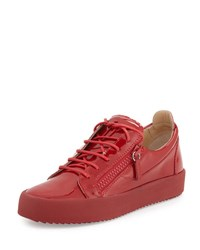 Giuseppe Zanotti Men's Patent Leather Low Top Sneaker Red