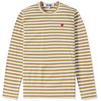 Comme Des Garcons Play Little Red Heart Long Sleeve Striped Tee Green