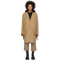 R 13 R13 Tan Wool Fringe Raw Cut Coat