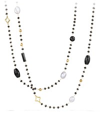 David Yurman Bead And Chain Quatrefoil Necklace With Labradorite Milky Aquamarine And Iolite In Gold