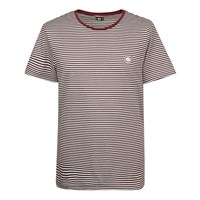 Pretty Green Short Sleeve Striped Feeder T Shirt Burgundy