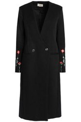 Temperley London Double Breasted Cotton Gabardine Coat Black