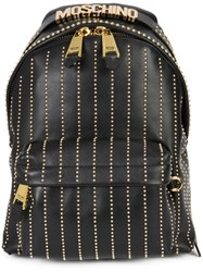 Moschino Studded Lines Backpack Black