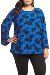 Vince Camuto Small Fresco Blooms Bell Sleeve Blouse Plus Size Blue