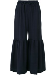 See By Chloe Flared Cropped Trousers Polyester Spandex Elastane Viscose Blue