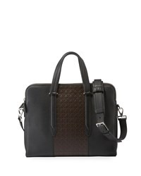 Salvatore Ferragamo Firenze Gamma Textured Briefcase Black