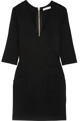 Balmain Pierre Button Embellished Stretch Jersey Mini Dress Black