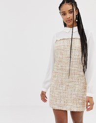 Amy Lynn Long Sleeve Contrast Shirt Dress Cream